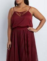 Charlotte Russe Plus Size Lattice Lace-Up Tank Top