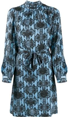 Essentiel Antwerp snake print belted waist dress