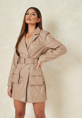Missguided Mauve Faux Leather Belted Blazer Dress