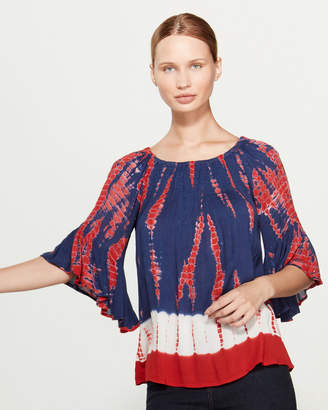 Studio West Bell Sleeve Tie-Dye Top