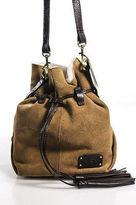 UGG Chestnut Suede Shearling Lined Drawstring Shoulder Handbag New