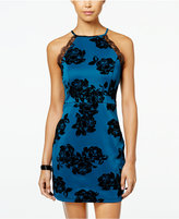 Trixxi Juniors' Velvet-Print Bodycon Dress