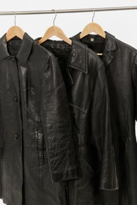 Urban Renewal Vintage Leather Trench Coat - Black M at Urban Outfitters