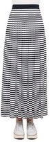 Akris Punto Striped Pleated Maxi Skirt, Navy/Cream