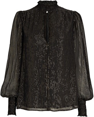 A.L.C. Silvie Striped Silk Chiffon Blouse