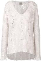 Nude distressed knit sweater - women - Wool - 42