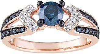 Stella Grace 10k Rose Gold 3/4 Carat T.W. Blue & White Diamond Split Shank Ring