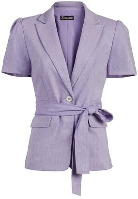New York & Co. One-Button Puff-Sleeve Jacket - Linen-Blend - 7th Avenue