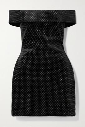 Christopher Kane Off-the-shoulder Glittered Velvet Mini Dress