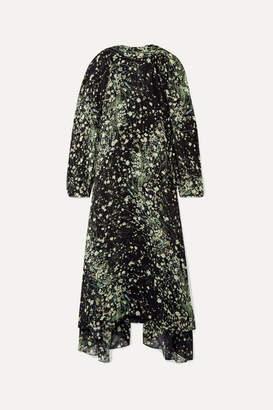 Givenchy Floral-print Silk-chiffon Midi Dress - Black