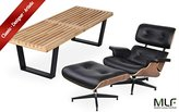 MLF Eames Lounge Chair & Ottoman + Nelson Platform Bench (Chair: Black Aniline Leather + Walnut, Bench: 4 Feet)(42 Combinations)