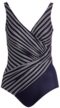 Miraclesuit Swim, Plus Size Belmont Stripe Ruched One-Piece Swimsuit