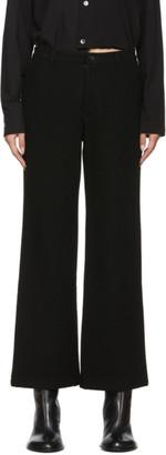Yohji Yamamoto Black Flannel Straight Trousers