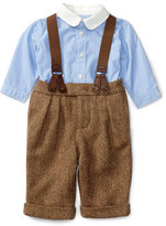 Ralph Lauren Poplin Shirt w/ Herringbone Pants & Suspenders, Brown/Blue, Size 6-24 Months