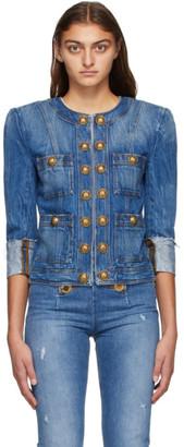 Balmain Blue Denim Vintage Collarless Jacket