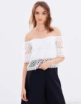 Miss Selfridge Cutwork Embroidered Cold Shoulder Top
