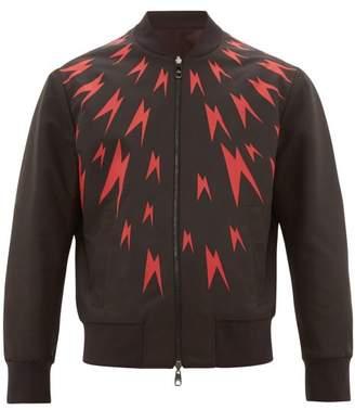 Neil Barrett Bolt-print Bomber Jacket - Mens - Black Red