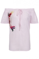 Quiz Pink And White Stripe Embroidered Bardot Top