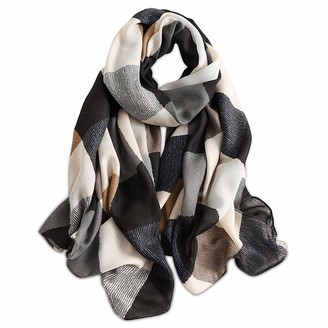 LumiSyne Spring Women Girl Scarf Soft Lightweight Cotton Scarf Mixed Colors Geometric Letter Pattern Fashion Shawl Wrap Easy Matching Clothes