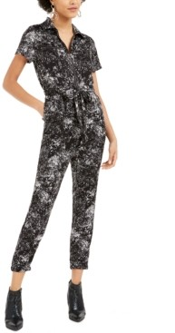 Bar III Splatter-Print Utility Jumpsuit, Created for Macy's