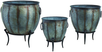 Transpac Set Of 3 Metal Silver Spring Rustic Oblong Standing Containers