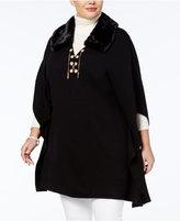 Belldini Plus Size Faux-Fur Poncho Sweater