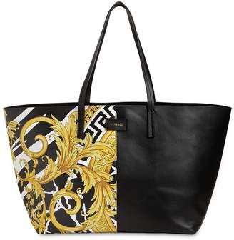 Versace PRINTED LEATHER TOTE BAG