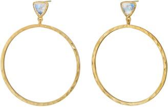 Harry Rocks Jewel Geometric Hoop Earrings Gold Moonstone