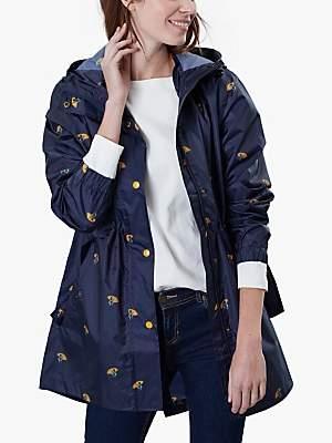 Joules Golightly Pack-Away Waterproof Umbrella Ducks Print Coat, Navy/Multi