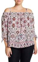 Amy Byer Off-the-Shoulder Floral Print Blouse (Plus Size)