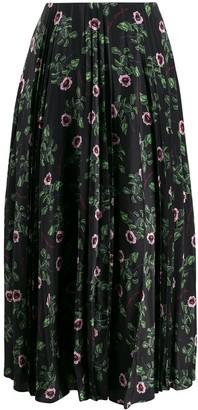 Valentino Pleated Floral Print Skirt