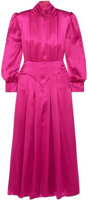 Alessandra Rich Pleated Silk-satin Maxi Dress