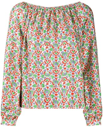 Tory Burch Off The Shoulder Paisley Print Silk Top