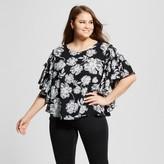 Who What Wear Women's Plus Size Ruffle Sleeve Blouse