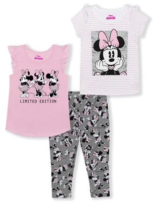Minnie Mouse Girls 4-6X Short Sleeve and Flutter Sleeve Tee With Printed Legging, 3-Piece Outfit Set