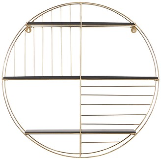 """Willow Row Round Gold Metal And Black Wood Wall Shelf - 28.5"""" X 28.5"""""""