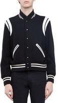 Saint Laurent Classic Teddy Varsity Jacket, Black