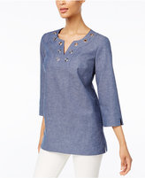 JM Collection Grommet-Trim Tunic, Only at Macy's