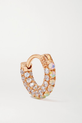 Maria Tash 5mm 18-karat Rose Gold, Opal And Diamond Hoop Earring