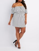 Charlotte Russe Plus Size Striped Off-The-Shoulder Ruffle Dress