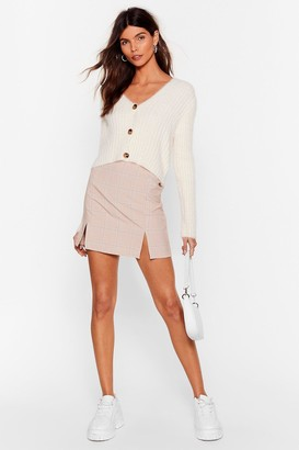 Nasty Gal Womens Check Me Out Slit Mini Skirt - Beige
