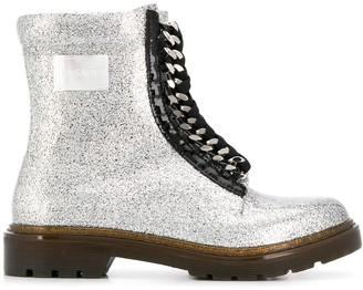 Casadei Glitter Effect Chain Detail Boots