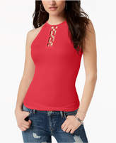 GUESS Krissy Ribbed Hardware-Detail Top