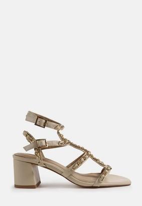 Missguided Cream Chain Gladiator Block Heel Sandals