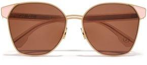 Mazzini Zanzan Round-frame Gold-tone And Enamel Sunglasses