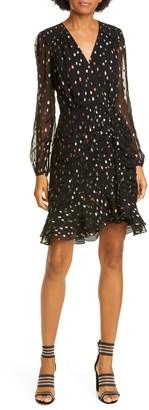 Diane von Furstenberg Bea Metallic Rainbow Dot Long Sleeve Cocktail Dress