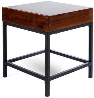 Gdfstudio GDF Studio Elrod Industrial Dark Oak Acacia Wood Storage Side Table