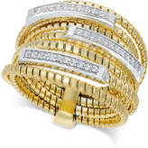 Macy's Diamond Multi-Layer Statement Ring (1/4 ct. t.w.) in 14k Gold-Plated Sterling Silver