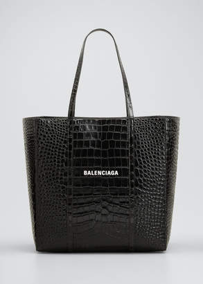 Balenciaga Everyday Small Shiny Embossed Croc Tote Bag