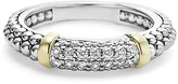 Lagos 18K Gold and Sterling Silver Caviar Beaded Stacking Ring with Diamonds